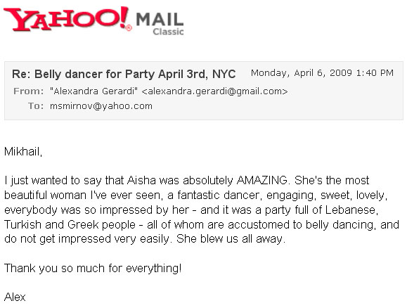 Recommendation letter for Belly Dancer Aeesha