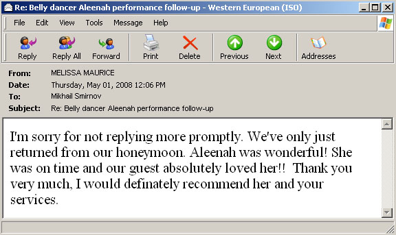 Belly dancer Aleenah recommendation